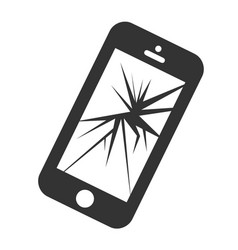 mobile smartphone with broken screen isolated vector image