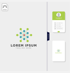 molecular tech logo template free business card vector image