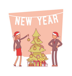 New year office tree lineart concept vector