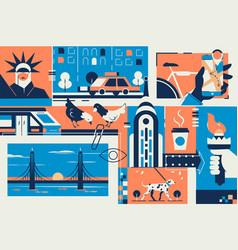 new york postcard with city landmark in frame vector image