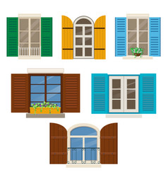 Open windows with shutters vector