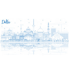Outline delhi india city skyline with blue vector