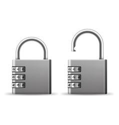 Padlocks combination realistic metallic locks vector