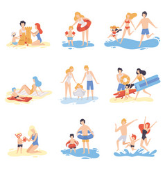 parents and their children playing and having fun vector image
