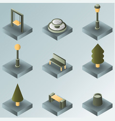 park color gradient isometric icons vector image