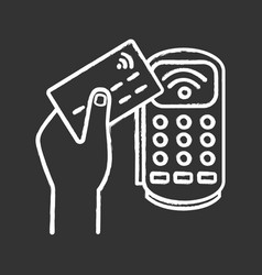 Payment terminal chalk icon vector