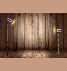 Photo studio in old wooden room vector