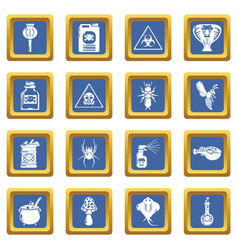 Poison danger toxic icons set blue square vector