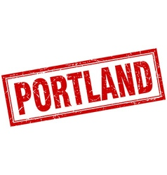 Portland red square grunge stamp on white vector