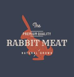 rabbit vintage logo retro print poster vector image