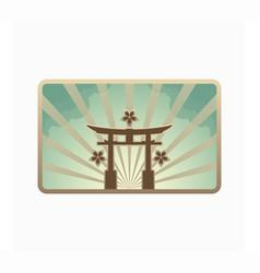 retro style japanese gate landmark vector image