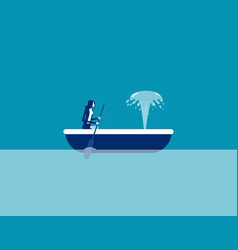 Rowing boat and watching water squirting vector