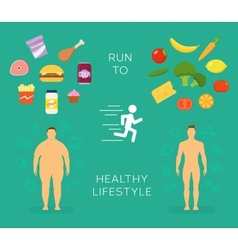 Running to Healthy Lifestyle Flat Card or vector image