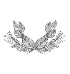 Rustic leaves with feathers decoration vector