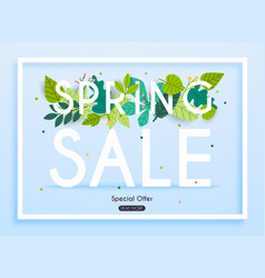 sale banner with flowers poster flyer vector image