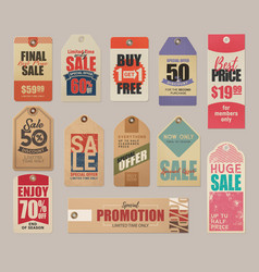 Sale labels discounts price cards clearance vector