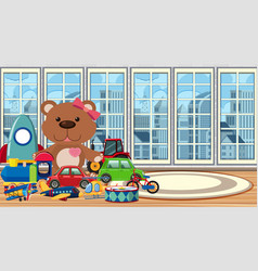 Scene with many toys in room vector
