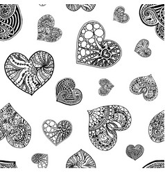 seamless pattern from hand drawn doodle hearts vector image