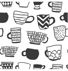 Seamless pattern with cups coffee vector
