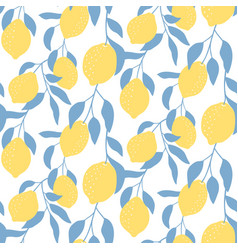 seamless pattern with lemon fruits hand drawn vector image
