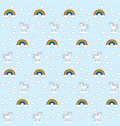 Seamless unicorns and rainbows pattern vector