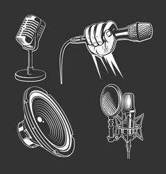 set karaoke singing icons vector image