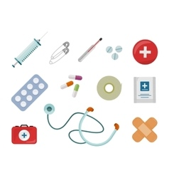 Set of Medical Supplies in Flat Design vector