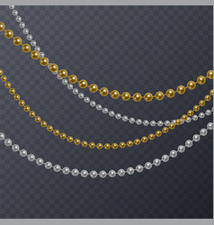 set of realistic white and gold pearls on vector image
