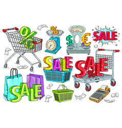 shopping retail and discount icons set vector image