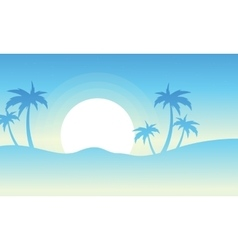 Silhouette of palm at sunrise vector image