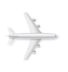 silver airplane top view vector image