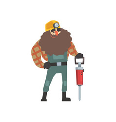 Smiling bearded miner with jackhammer vector