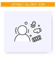 Spring allergy line icon editable vector