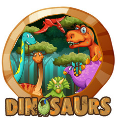 sticker design with many dinosaurs in forest vector image