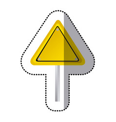 Sticker yellow triangle shape traffic sign with vector