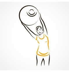 Stretching with fitball vector