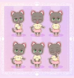 Sweet kitty little cute kawaii anime cartoon cat vector