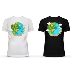 T-shirt with of hands holding earth vector image