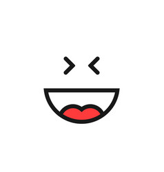 thin line happy emoji logo like laugh vector image