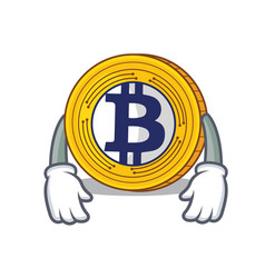 Tired bitcoin gold character cartoon vector