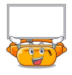 Up board waist bag placed in cartoon closet vector