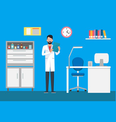 Veterinary clinic doctor in gown examining case vector