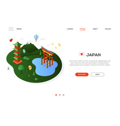 visit japan - modern colorful isometric web banner vector image