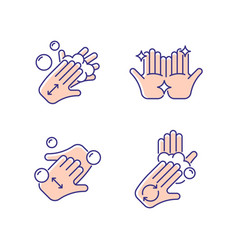 Washing hands instruction rgb color icons set vector