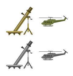 Weapon and gun icon set of vector