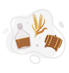 Whiskey drink in glass bottle barley spikelet and vector