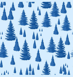 Winter seamless pattern landscape with fir forest vector