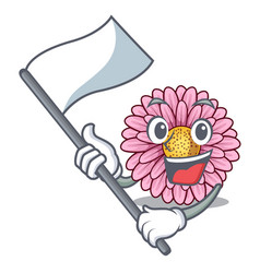 With flag gerbera flowers in the cartoon shape vector