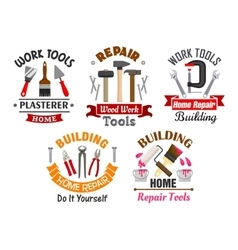 Work tools for repair and building badges set vector image