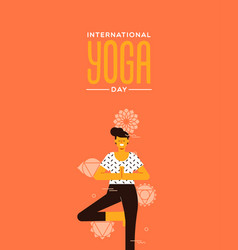 Yoga day card woman in tree pose exercise vector